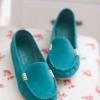 รองเท้าหุ้มส้น ผู้หญิง รองเท้าส้นแบน แบบเรียบ หนังแท้ โชว์สีสัน รองเท้าปิดหน้าเท้า ลดราคา รองเท้าใส่เที่ยว ใส่ทำงาน สีฟ้า 556014_1