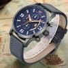 นาฬิกาข้อมือ ผู้ชาย นาฬิกาสายหนังแท้ แบบสปอร์ต มีระบบวันที่ นาฬิกาหน้าปัดสีฟ้า สีหายาก แต่งตะเข็บ ตัดสี กับสาย 190690
