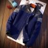 เสื้อคลุมผู้ชายแขนยาว เสื้อแจ็คเก็ตเท่ ๆ หนังผสมผ้า cotton ดีไซน์เท่ สีน้ำเงิน เสื้อแจ็คเก็ตผู้ชาย กันลม กันหนาว 660662