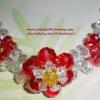 (ขายแล้วค่ะ) L01 สร้อยข้อมือถักรูปดอกไม้สีแดง คริสตัลโมดาร์