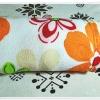 ผ้าห่มสำลี เนื้อนุ่ม ลายดอกไม้สีส้ม หวาน ๆ ขนาด 5 ฟุต