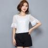 เสื้อแฟชั่น เสื้อใส่ทำงาน เสื้อผู้หญิง แขนสั้น เสื้อใส่ทำงาน ลายจุด สีขาว แขนเสื้อ มีระบายเล็กน้อย เนื้อผ้า 2 ชั้น 674821_2