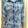 Used 003 เสื้อเชิ้ตใส่ทำงาน สีฟ้าลายดอกไม้ ผ้าซีฟองใส่สบายมากค่ะ