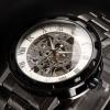 นาฬิกาข้อมือ โชว์กลไก Mechanical watch นาฬิกาข้อมือผู้ชาย สาย Stainless Steel สีดำ ยอดนิยม หน้าปัดขาว เลขโรมัน สีเงิน 268605_7