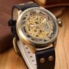 นาฬิกาข้อมือ โชว์กลไก Mechanical watch สายหนังแท้ นาฬิกาแบบไม่ต้องใส่ถ่าน กลไก สีทอง ผสมผสาน กับสายหนังแท้ ได้ลงตัว 660444