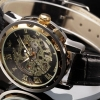 นาฬิกาข้อมือ แบบโชว์กลไก ด้านใน Automatic watch สายหนังแท้ นาฬิกา คลาสสิค ของขวัญให้แฟน แบบใช้งานได้ สีทอง สีิเงิน สีขาว ราคาถูก 437642