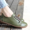 รองเท้าหุ้มส้น ผู้หญิง รองเท้าหนังแท้ รองเท้าผ้าใบหนัง แท้ แบบไม่มีส้น รองเท้า ใส่เที่ยว สีเขียว มีเชือกผูก สไตล์ วินเทจ หนังนิ่ม ใส่สบาย 903277_2
