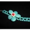 สร้อยข้อมือ เทอร์ควอยซ์ สังเคราะห์ ลายดอกไม้สีฟ้า