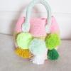 กระเป๋าถักโครเชต์ประดับปอมปอม handbag crochet