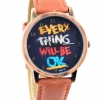 นาฬิกาข้อมือ สไตล์ วัยรุ่น ผู้หญิง ผู้ชาย ใส่ได้ หน้าปัดข้อความให้กำลังใจ everything will be ok ของขวัญยอดนิยม สีส้มอิฐ no 526000_3