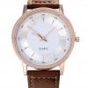 นาฬิกาข้อมือ ผู้ชาย สายหนังแท้ สีน้ำตาล หน้าปัดขาว กรอบทอง Rose Gold คลาสสิค นาฬิกา Quartz นาฬิกาสำหรับ สุภาพบุรุษ เรียบหรู 417583_2