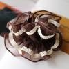 โดนัทรัดผมสไตล์ญี่ปุ่นผ้าชีฟองระบายสีน้ำตาลแต่งลูกไม้