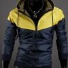 เสื้อ แจ็คเก็ต ผู้ชาย แบบ มีฮู้ด Jacket แบบ เท่ ๆ สีเหลือง สลับ กรมท่า ใส่กันลม กันแดด ผ้า Poly ผสม กันน้ำ ดีไซน์ 2 สี เสื้อนอก แบบซิปหน้า 824051_3
