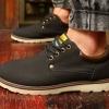 รองเท้าผ้าใบ ผู้ชาย รองเท้าใส่เที่ยว รองเท้าหุ้มส้น รองเท้าหนัง แบบกันน้ำได้ รองผู้ชาย ใส่เที่ยว สีดำ มีส้นเล็กน้อย แบบเท่ ๆ 871607