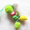 พวงกุญแจผลไม้ถักห้อยปอมปอม pompom crochet keychain