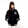 เสื้อ แจ็คเก็ต ผู้หญิง แบบ เสื้อ เบสบอล ตัวหลวม สีดำ และ สีแดง เสื้อ Jacket แขนยาว สไตล์ วัยรุ่น ญี่ปุ่น ฮาราจุกุ เก๋ ๆ แนวร็อค 949534