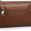 กระเป๋าสตางค์ผู้ชาย หนังแท้ ใบใหญ่ ใส่บัตรได้เยอะ แบบ กระเป๋าถือ มีซิปล๊อค ตรงกลาง แต่งเข็มขัดรัด ด้านหน้า สีน้ำตาล no 66593