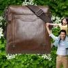 กระเป๋าสะพายข้าง ผู้ชาย Polo หนังแท้ ลง Wax แบบไม่มีฝาปิด ขนาดใหญ่ 26 x 28 x 7 cm สีพื้น ดีไซน์ เรียบหรู สีน้ำตาล สีดำ 28257_5