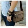 กระเป๋าสะพายข้างผู้ชาย ผ้า canvas สีน้ำตาล เท่ ๆ ขนาดกลาง ใส่กระเป๋าสตางค์ โทรศัพท์ มือถือ ของกระจุกกระจิก แบบสวย 37178