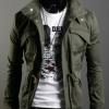 เสื้อกันหนาวผู้ชาย เสื้อคลุมผู้ชายแขนยาว สไตล์ แจ็คเก็ตยีนส์ สไตล์ คาวบอย Jacket สีเขียว Army green คอเปิด ซิปด้านหน้า กระดุมปิดทับ 681726_3