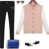 เสื้อ แจ็คเก็ต ผู้หญิง สไตล์ เสื้อ เบสบอล สีชมพูหวาน ๆ แขนสีขาว เสื้อ jacket แฟชั่น สาวยุโรป ใส่เที่ยว ใส่กันแดด 213836_1