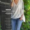 เสื้อผู้หญิง แขนยาว แบบ มีดีไซน์ ผ้า Cotton แต่งระบาย ด้วยผ้าซีฟอง เสื้อยืด แบบเก๋ ๆ สีขาว เสื้อคอวี 4610355