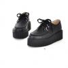 รองเท้าผ้าใบผู้หญิง เสริมส้น รองเท้า เตารีด รองเท้าผ้าใบสีดำ หนัง Pu แบบสวย ใส่สบาย มีเชือกผูก แนว Sport 100674_1