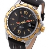 นาฬิกาข้อมือผู้ชาย สายหนังสีดำ สุขุม ขอบหน้าปัดสีทอง ด้านในสีดำ พร้อมระบบวันที่ เรียบหรู ราคาถูก no 436404_1
