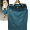 กระโปรงทำงาน ยาวประมาณ เข่า สีพื้น เนื้อผ้ามันเงา กระโปรงยาว สีน้ำเงิน มีดีไซน์ กระเป๋าข้าง แบบสวย สไตล์ แฟชั่นยุโรป 669302