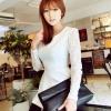 เสื้อทำงาน ออฟฟิค เสื้อผู้หญิง ทำงาน สีขาว และ สีดำ แขนยาว คอวีปาด แขนยาวผ้าลูกไม้ ดีไซน์ สาวนักบริหาร สวยหรู no 801399