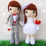 """ตุ๊กตาถัก คนแต่งงาน 9"""" (4)"""
