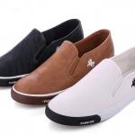 รองเท้าผ้าใบ ผู้ชาย แบบไม่มีเชือกผูก รองเท้าใส่เที่ยว รองเท้าหุ้มส้น polo ใส่เท่ แบบสวย สีดำ น้ำตาล ขาว 827518
