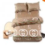 ชุดผ้าปูที่นอนลาย gucci สีน้ำตาล 6 ฟุต 5 ชิ้นพร้อมผ้านวม อย่างดี no s002