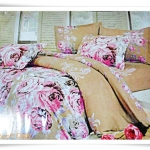 ชุดผ้าปูเตียง ผ้าปูที่นอน สีน้ำตาลอ่อนลายดอกไม้ Cotton 6 ฟุต 5 ชิ้น B001
