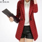 เสื้อสูท เสื้อแจ็คเก็ต เสื้อคลุม แบบสูท สูทผู้หญิง แขนยาว สูทตัวยาว สีแดง ลายตาราง สก๊อต ดีไซน์หรู ดูโก้ สุด ๆ 127125