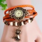 นาฬิกาข้อมือ ผู้หญิง สายหนังถัก สไตล์สร้อยข้อมือ วินเทจ สีส้มสด ห้อย นกฮูก