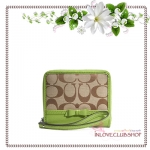 COACH / SIGNATURE BOW MEDIUM ZIP AROUND (COLOR: SILVER/KHAKI/LIME) *ของแท้ USA 100%