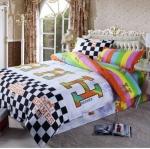 ชุดผ้าปูที่นอน พร้อมผ้านวม 6 ฟุต ลาย Hermes พื้นขาว สีรุ้ง ลายสวยมากค่ะ no s001