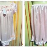 ชุดนอน ผ้าซาติน ผ้านุ่มลื่น สีชมพู s001