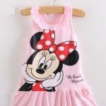 ชุดเดรส สำหรับเด็ก ลาย Minnie Mouse แขนกุด สีชมพู แขนกุด no 34150