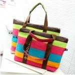 กระเป๋าถือ กระเป๋าสะพาย ผ้าแคนวาส กระเป๋าใส่เสื้อผ้า ท่องเที่ยว ใส่หนังสือ เรียนพิเศษ กระเป๋าผ้าใบใหญ่ สีสันสดใส เหมาะสำหรับเที่ยวทะเล สุด ๆ 381076