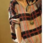 เสื้อกันหนาว เสื้อไหมพรม ผู้หญิง เสื้อไหมพรมตัวใหญ่ ถักนิตติ้ง แบบสไตล์ วินเทจ แบบ คลาสสิค ใส่หลวม ๆ อุ่น ๆ แบบสวย 329136