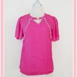 **สินค้าหมด Sale!! blouse1628 เสื้อแฟชั่นผ้าชีฟองสีพื้นปักมุกแขนระบาย สีชมพูช็อคกิ้งพิ้งค์