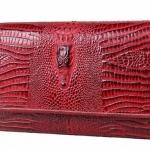 กระเป๋าสตางค์ผู้หญิง ใบยาว กระเป๋าสตางค์ หนังวัว แท้ อัดลาย หนังจรเข้สุดหรู สีดำ สีแดง ใส่บัตร ใส่เงินได้เยอะ กระเป๋าสตางค์ผู้ใหญ่ 205113