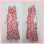 **สินค้าหมด dress2167 แม็กซี่เดรสแฟชั่น/เดรสยาว ผ้าชีฟองเนื้อดีลายดอกไม้ สายเดี่ยว(ปรับสายบ่าได้) สม็อคหลัง ชายระบาย โทนสีชมพู รอบอกไม่เกิน 40 นิ้ว เอว/สะโพกฟรีไซส์ ความยาว 54 นิ้ว