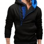 เสื้อ แจ็คเก็ต ผู้ชายแขนยาว แบบสวม เสื้อกันหนาว สีดำ ด้านในตัดด้วย สีน้ำเงิน วัยรุ่นเท่ ๆ มีฮู้ดด้านหลัง เสื้อหมวก แขนยาว 88604_3
