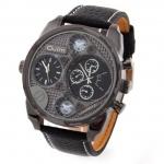 นาฬิกาข้อมือ ผู้ชาย สายหนัง สีดำ หน้าปัด 3 มิติ นาฬิกาแนวใหม่ เห็น มุมลึก ด้านใน ของขวัญให้แฟน ให้พ่อ ให้เพื่อน ปีใหม่ วาเลนไทน์ 906012