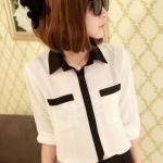 เสื้อเชิ้ต แขนสามส่วน เสื้อคอปก ผ้าชีฟอง แต่งสลับสี กับตัวเสื้อ เสื้อใส่เที่ยว ใส่ทำงาน ก็สวยเก๋ ค่ะ สีขาวปกดำ no 743723_2