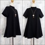 LOT SALE!! Dress3609 ชุดเดรสแฟชั่นทรงปล่อยใส่สบาย มีซิปหลังใส่ง่าย ผ้าไหมอิตาลีสีพื้นดำ งานดีผ้านุ่มใส่สบาย