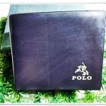 กระเป๋าสตางค์ Polo ใบสั้น สีดำลายไม้ หนังแท้ ช่องใส่บัตร ได้เยอะ กระเป๋าสตางค์ผู้ชาย ของขวัญ ให้แฟน สุดหรู p1015